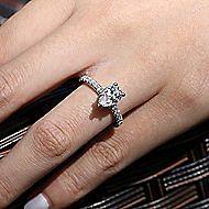 Alina 14k White Gold Pear Shape Straight Engagement Ring