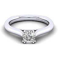 Allie 14k White Gold Cushion Cut Solitaire Engagement Ring angle 1