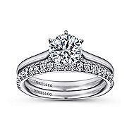 Allie 14k White Gold Round Solitaire Engagement Ring angle 4