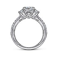 Aloise 14k White Gold Cushion Cut 3 Stones Engagement Ring angle 2