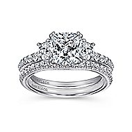 Aloise 14k White Gold Cushion Cut 3 Stones Engagement Ring angle 4