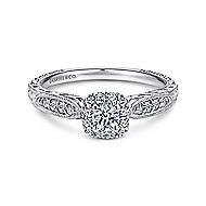 Alona 14k White Gold Round Halo Engagement Ring angle 1