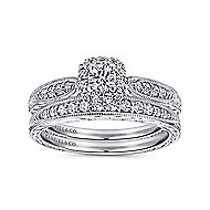 Alona 14k White Gold Round Halo Engagement Ring angle 4