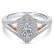 Alpine 14k White And Rose Gold Marquise  Double Halo Engagement Ring angle 1