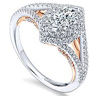 Alpine 14k White And Rose Gold Marquise  Double Halo Engagement Ring angle 3