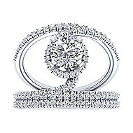 Altaira 14k White Gold Round Halo Engagement Ring angle 4