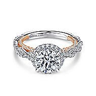 Amaya 18k White And Rose Gold Round Halo Engagement Ring angle 1