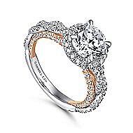 Amaya 18k White And Rose Gold Round Halo Engagement Ring angle 3