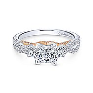 Ambrosia 14k White And Rose Gold Princess Cut 3 Stones Engagement Ring angle 1
