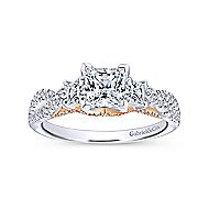 Ambrosia 14k White And Rose Gold Princess Cut 3 Stones Engagement Ring angle 5