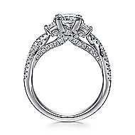 Ambrosia 14k White Gold Princess Cut 3 Stones Engagement Ring angle 2