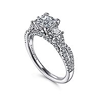 Ambrosia 14k White Gold Princess Cut 3 Stones Engagement Ring angle 3