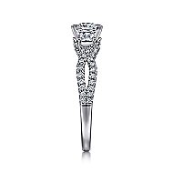 Ambrosia 14k White Gold Princess Cut 3 Stones Engagement Ring angle 5