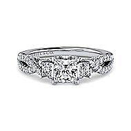 Ambrosia 18k White Gold Princess Cut 3 Stones Engagement Ring angle 1