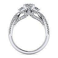 Ambrosia 18k White Gold Princess Cut 3 Stones Engagement Ring angle 2
