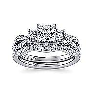 Ambrosia 18k White Gold Princess Cut 3 Stones Engagement Ring angle 4