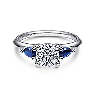 Amerie 14k White Gold Round 3 Stones Engagement Ring angle 1