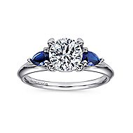 Amerie 14k White Gold Round 3 Stones Engagement Ring angle 5