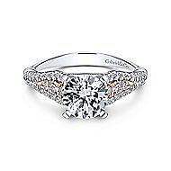 Amina 14k White And Rose Gold Round Straight Engagement Ring angle 1