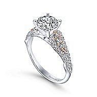 Amina 14k White And Rose Gold Round Straight Engagement Ring angle 3