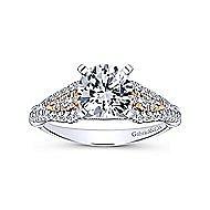 Amina 14k White And Rose Gold Round Straight Engagement Ring angle 5
