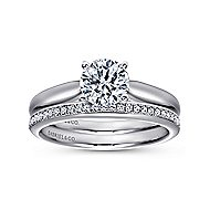 Amy 18k White Gold Round Solitaire Engagement Ring angle 4