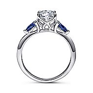 Anastasia 18k White Gold Round 3 Stones Engagement Ring angle 2
