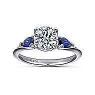 Anastasia 18k White Gold Round 3 Stones Engagement Ring