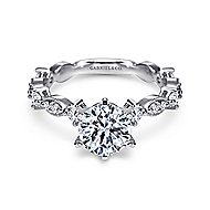 Ancora 18k White Gold Round Straight Engagement Ring angle 1
