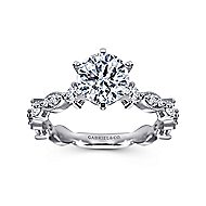 Ancora 18k White Gold Round Straight Engagement Ring angle 5