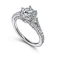 Andre 18k White Gold Round Split Shank Engagement Ring angle 3
