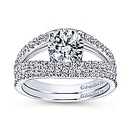 Andrina 14k White Gold Round Split Shank Engagement Ring angle 4