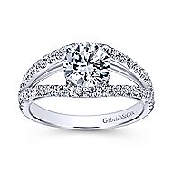 Andrina 14k White Gold Round Split Shank Engagement Ring angle 5