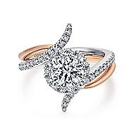 Andromeda 14k White And Rose Gold Round Halo Engagement Ring angle 1