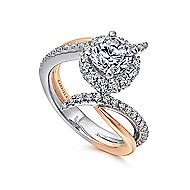 Andromeda 14k White And Rose Gold Round Halo Engagement Ring angle 3