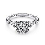 Angel 14k White Gold Princess Cut Halo Engagement Ring angle 1
