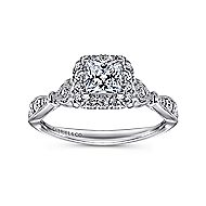 Angel 14k White Gold Princess Cut Halo Engagement Ring angle 5