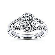 Angelene 14k White Gold Oval Halo Engagement Ring angle 5