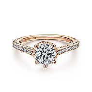 Angelina 14k Rose Gold Round Straight Engagement Ring angle 1