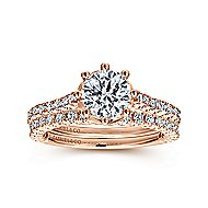Angelina 14k Rose Gold Round Straight Engagement Ring angle 4