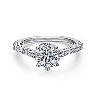 Angelina 14k White Gold Round Straight Engagement Ring angle 1