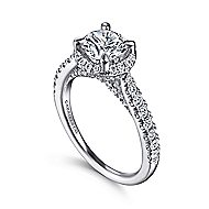Anise 14k White Gold Round Halo Engagement Ring angle 3