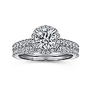 Anise 14k White Gold Round Halo Engagement Ring angle 4