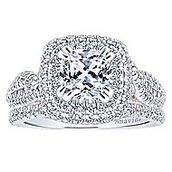 Annabella 18k White And Rose Gold Cushion Cut Double Halo Engagement Ring