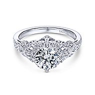 Annabeth Platinum Round Straight Engagement Ring angle 1