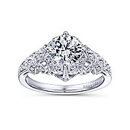 Annabeth Platinum Round Straight Engagement Ring angle 5