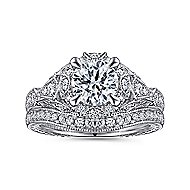 Annadale 14k White Gold Round Halo Engagement Ring