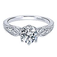 Annette 14k White Gold Round Straight Engagement Ring angle 1