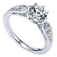 Annette 14k White Gold Round Straight Engagement Ring angle 3