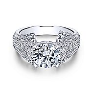 Annie 18k White Gold Round Straight Engagement Ring angle 1